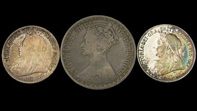3 Victorian Great Britain Silver Coins - 1872 Florin 1898 Shilling 1901 Shilling