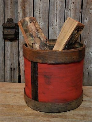 Antique Primitive RED Round Wooden Dry Measure Grain Pantry Box AAFA