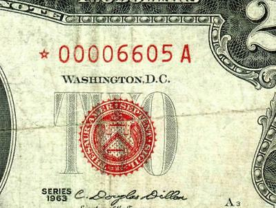 ** STAR ** $2 1963 United States Note  LOW FOUR DIGIT SERIAL NUMBER