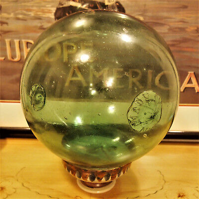 "37"" Green Glass Japanese Fishing Float, Ball Buoy,antique Vintage Large"