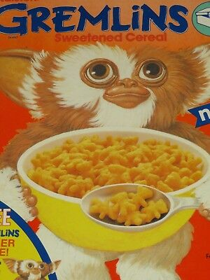 1985 Ralston's GREMLINS Cereal Box Orange with Gizmo Toy Offer on Back