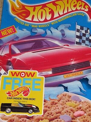 1990 Ralston's HOT WHEELS Cereal Box Large Photo Back Car in Box (not included)