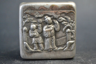 China Collectible Handmade Tibet Silver relief carve dancer Tobacco ring Box