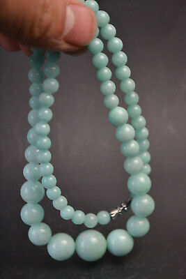 China Collectible Vintage Decor blue Jade burnish bead old Exquisite Necklace