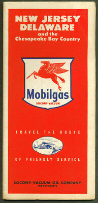 Mobilgas Gasoline Road Map New Jersey Delaware 1947