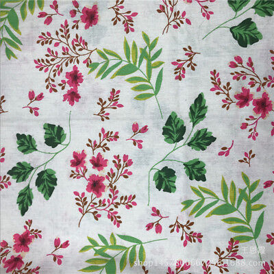 50x150cm Cotton Linen Fabric DIY Craft Material Print Flower Leaf F151 S