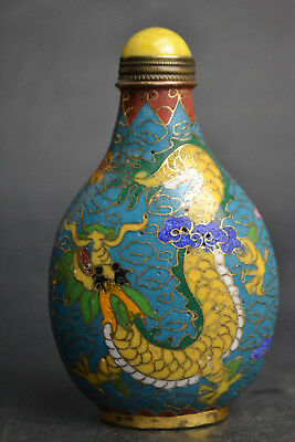Chinese handwork old Rare Vintage Cloisonne phoenix dragon totem Snuff Bottle
