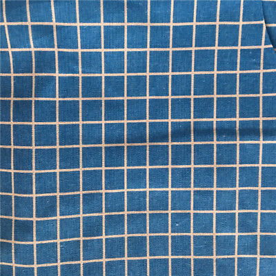 50x150cm Cotton Linen Fabric DIY Craft Material Blue White Check Plaid F1213a S
