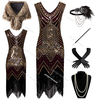 1920s Flapper Costume Great Gatsby Party Fancy Prom Evening Cocktail Dress 6-20