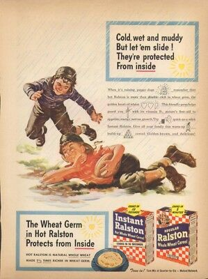 Cold wet muddy kids football Ralston Cereal ad 1945