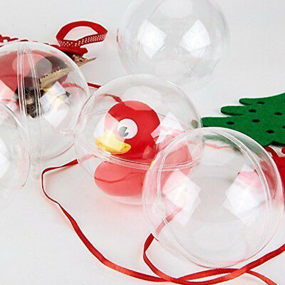 5PCS Clear Transparent Plastic Craft Balls Christmas Decoration Baubles Gifts