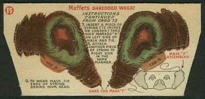 Muffets Shredded Wheat Circus #15 Mask F ears punch-out 1950s