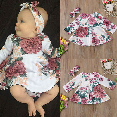 Hot Newborn Kid Baby Girls Flower Dress Princess Party Pageant Clothes Set 0-24M
