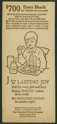 Nabisco Shredded Wheat Painted Alphabet Contest Card J is for Lasting Joy 1929