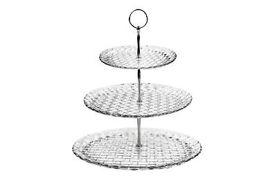 3 Tier Glass Cake Stand Afternoon Tea Serving Platter High Quality Embossed