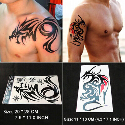 01fd99248 2 Sheets Large Temporary Tattoos Tribal Totem Body Dragon Tattoo Sticker  for Men