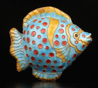 Cloisonne Handmade Enamel Tropical Fish Statue Pendant Collectable