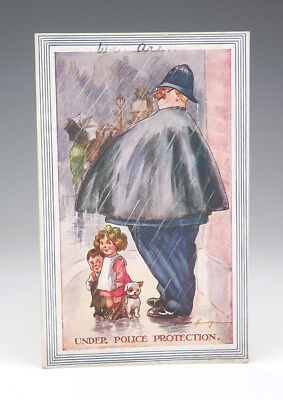 Vintage Fred Spurgin Comic Policeman Police Related Postcard - Lovely!