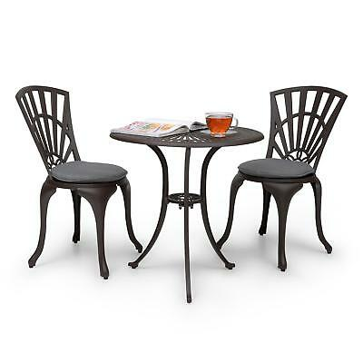 [OCCASION] Set jardin table de bistrot 2 chaises coussins inclus fonte d'alumini