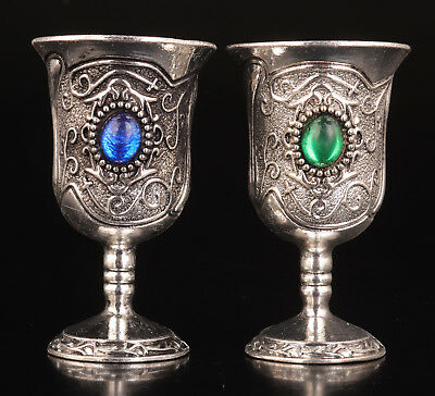 2 Wine Cups Silver - Plated Silver Jewelry Tibet Adorns