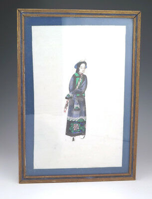 Antique Chinese Oriental Lady - Pith or Rice Paper Painting - Lovely!