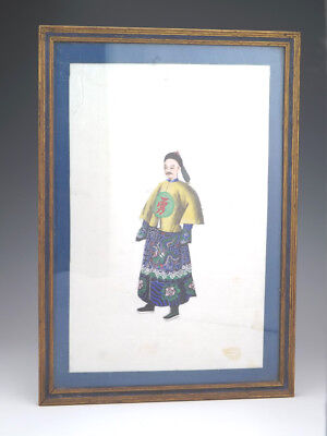 Antique Chinese Oriental Man - Pith or Rice Paper Painting - Lovely!