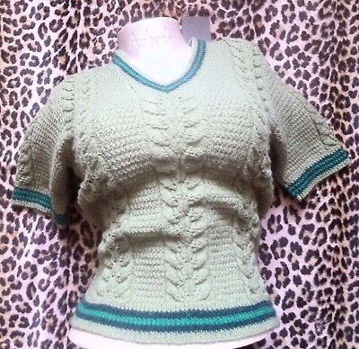 FRENCH 1940s WOMAN GLAMOROUS FITTED SWEATER~ GREEN CABLE KNIT ~NEW/OLD STOCK~S/M