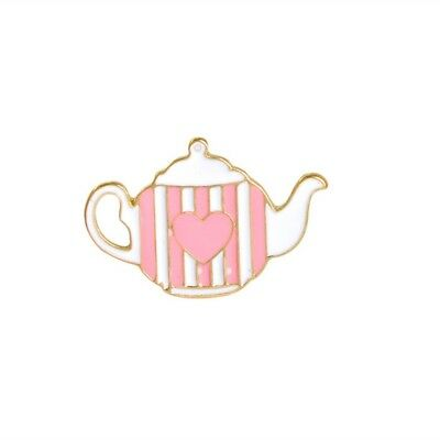 Alice In Wonderland Teapot Enamel Lapel Pin Badge/Brooch Cute Pastel Pink Heart