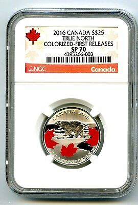 2016 $25 Canada Silver Ngc Sp70 First Releases Polar Bear True North Maple Leaf