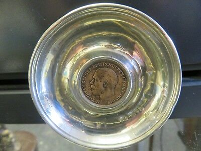 Chester Silver 1910 Dish with 1911 Half Penny.