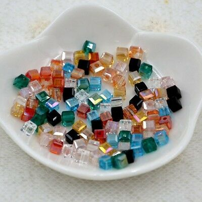 100 Pcs 4mm Swarovski cube crystal bead D mixed-colored assorted color