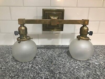 Rare Antique Arts And Crafts Mission Style Brass Light Fixture Frosted Glass