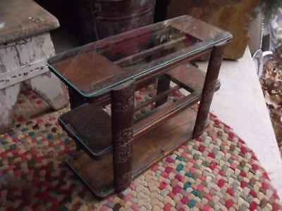Cool Primitive Wood & Glass Triple Shelf Made from Antique Sewing Drawer