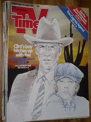 TV Times  9 - 15 August  1986  Clint Eastwood  cover