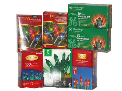 LOT of 7 Boxes  red/green & multi color  Mini Lights Green Wire Christmas