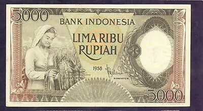 5000 Rupiah From Indonesia 1958 XF+ Rare Type