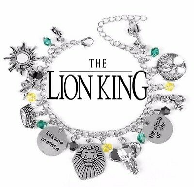 Lion King Circle Of Life Charms Silver Chain Bracelet Hakuna Matata Gift Bag Box
