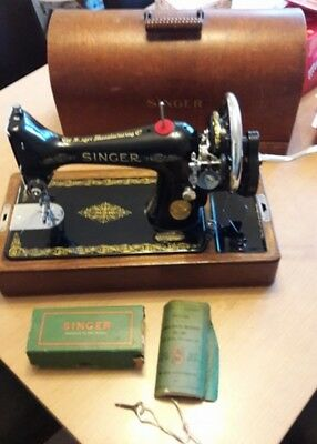 Vintage Hand Crank Singer Sewing Machine 99K, Full Working Order, CASED, Manual