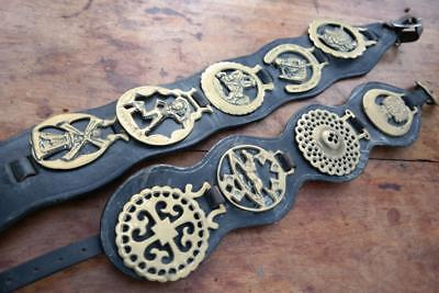 Antique Horse Brasses On Leather Straps Rustic Chic Fireplace Lucky Pixie Gypsy