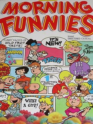 1988 Ralston's MORNING FUNNIES Cereal Box 1st Edition Cartoons Front & Back