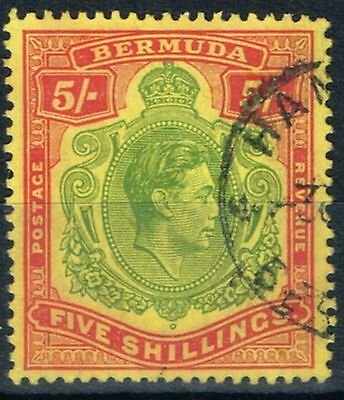Bermuda 1950 5s Yellow-Green & Red-Pale Yellow SG118f P.13 Fine Used