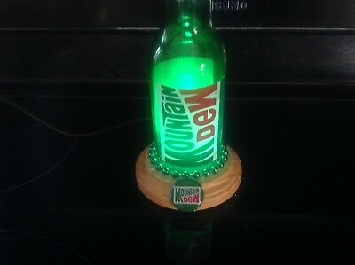 Mountain Dew Glass Bottle Table Lamp, Handmade Lamp Light-Green LED Bulb
