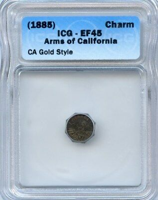 1885 Arms of California Gold Charm / Token ICG EF45