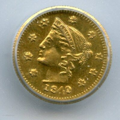 1849 Rnd ONE/1$ Canada British Columbia Gold Token / ICG MS65 RG#310 LR7