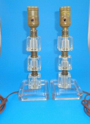 Vintage pair of glass table lamps ice cube with brass spacers