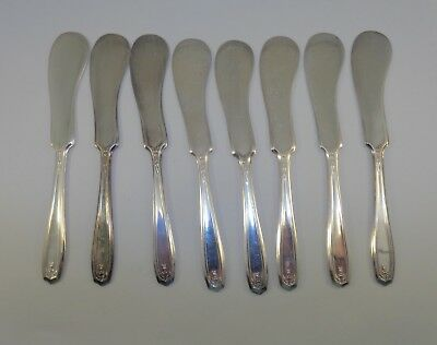 Antique set of eight Butter Spreaders Oxford Silver plate