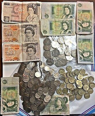 Over £140 (ENGLISH POUNDS) in CURRENCY & COINS BRITISH POUND ENGLAND BRITAIN