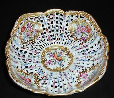 Gilt Floral Reticulated Ceramic Bowl Dresden Unknown Mark