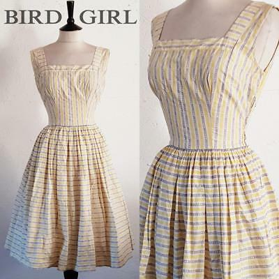 Spotty Polka Dot Stripe Original 1950S Vintage White Cotton Swing Day Dress 6 Xs