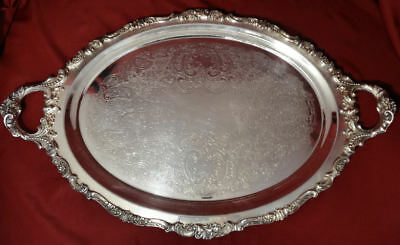 "Wallace BAROQUE Silver Plated Grande 29"" WAITER Tray for Tea Set #294"
